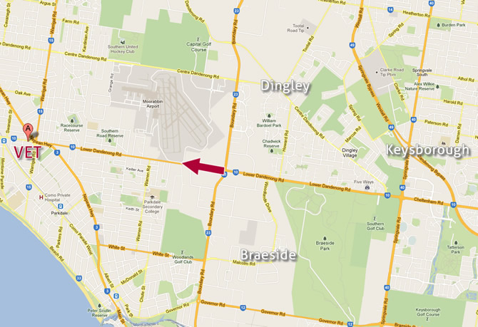 Map of Vet near Dingley, Braeside & Keysborough